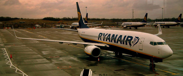 A Ryanair jet parked at London's Stansted Airport.