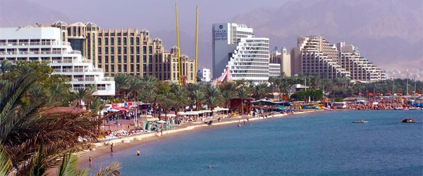The hotel and tourist strip of North Beach in Eilat.
