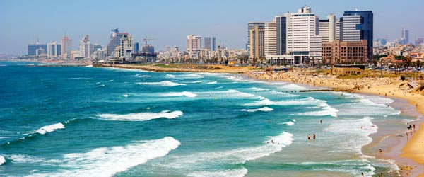 Tel Aviv is situated on the Mediterranean Sea and has a long sandy beach.