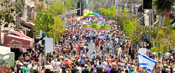 A photo of revelers at 2010's Tel Aviv Pride on Bugrashov Street.