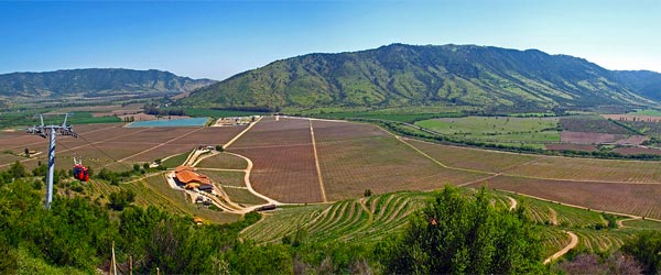 An aerial view of the Santa Cruz Vineyard in the Colchagua Valley.