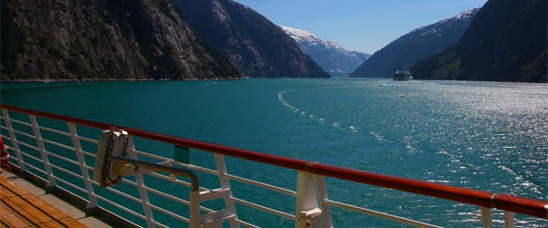 The view from the deck of a cruise ship sailing in an Alaskan fjord. Photo credit Rennett Stowe