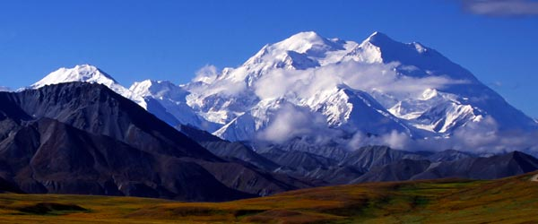 Mt Mckinley, rising 20,000 feet above Denali, is one of the world's tallest mountains.