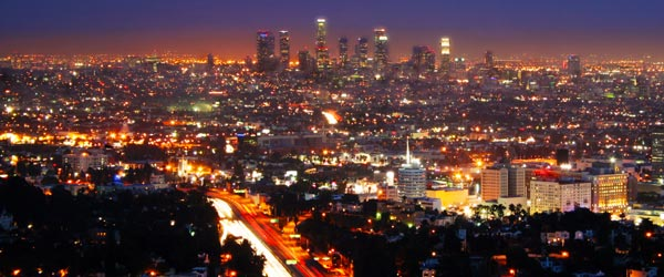 View of Los Angeles from the scenic vantage point of Mulholland Drive.
