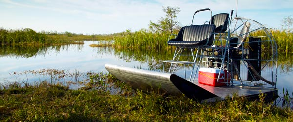An airboat in the swamps of the Everglades National Park.