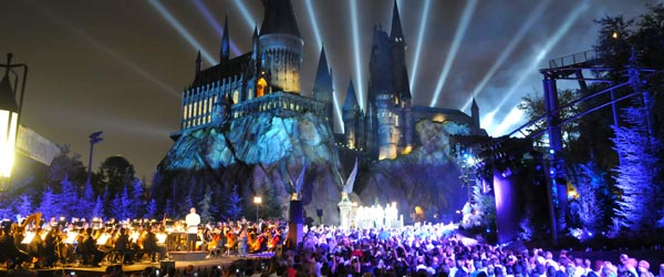 The Wizarding World of Harry Potter and Hogwarts Castle.