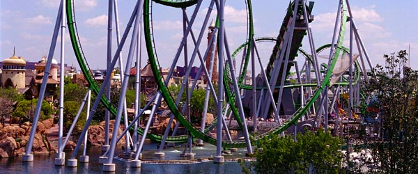 The twists, turns and inversions of the Incredible Hulk Coaster.