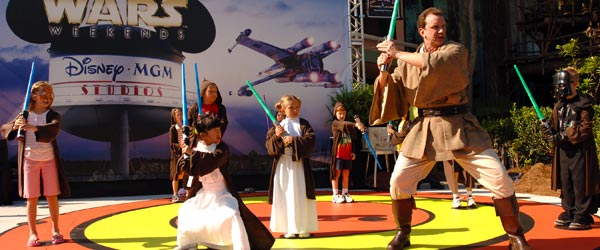 Young apprentices practicing at the Jedi Training Academy.