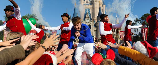 Justin Bieber performing at Main Street USA in the Magic Kingdom.