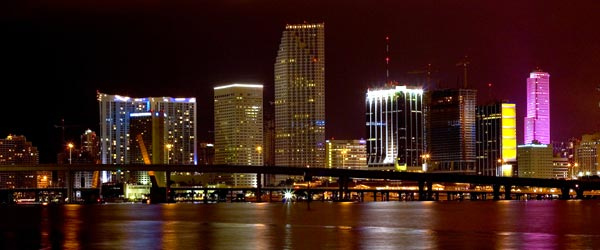 View of the downtown Miami skyline and its bright colors.