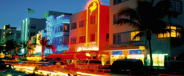 The neon lights of the Colony Hotel on SoBe's main street, Ocean Drive.