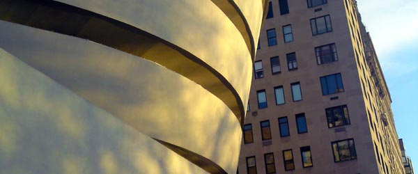 The wild stylings of architect Frank Lloyd Wright's Guggenheim building.