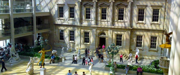 An interior courtyard in the Metropolitan Museum of Art.