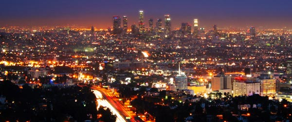 The Los Angeles skyline and its urban sprawl.