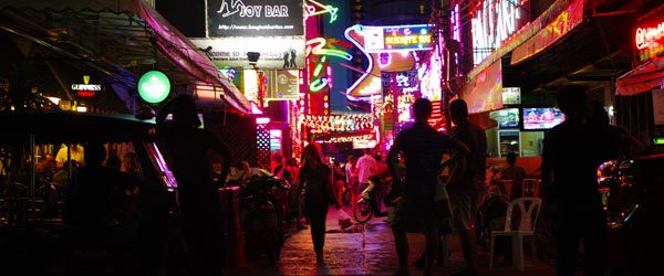 The bright lights and seedy bars of Soi Cowboy.