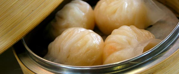 Har gau, shrimp, is a traditional dim sum flavor.