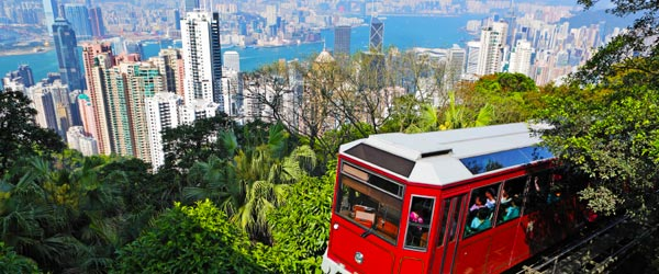 The Hong Kong Peak Tram has been climbing Victoria Peak since 1888.
