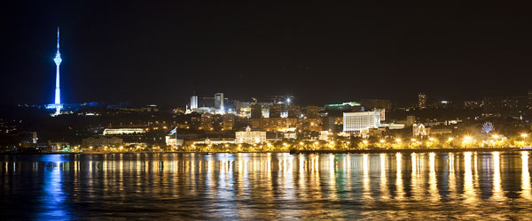 The waterfront promenade of Baku at night.