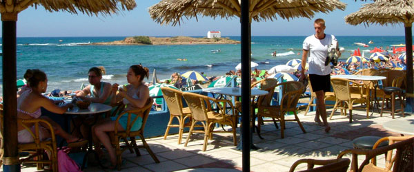 Relaxing at a seaside cafe in Malia.