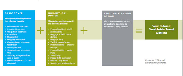 A look at the coverage of IHI-Bupa's Worldwide Travel Options plan.