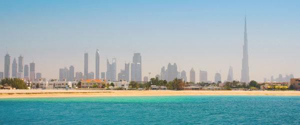 The skyline of Dubai with the Burj Khalifa, the world's tallest building, on the right.