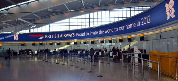 The British Airways desk in Heathrow's Terminal 5.