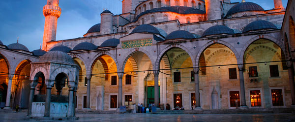 The Sultan Ahmed Mosque, commonly known as the Blue Mosque, is an imposing feature on the Istanbul skyline.