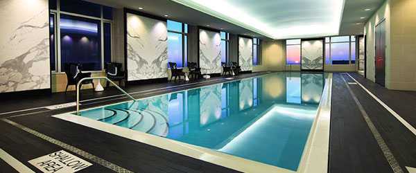 The Quartz Crystal Spa's salt water lap pool on the 32nd floor of the Trump International.