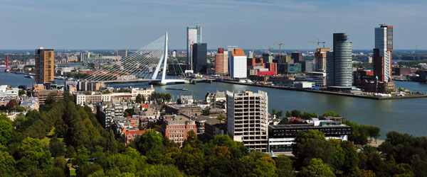A view of central Rotterdam and the Erasmus Bridge.