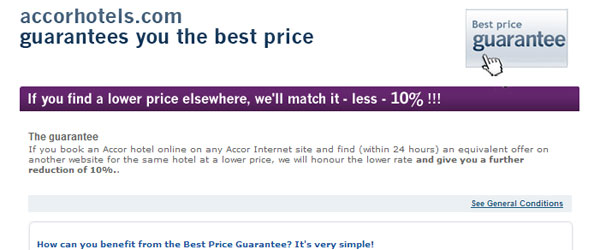 The best-price guarantee from Accor promises to beat any offer on the internet.