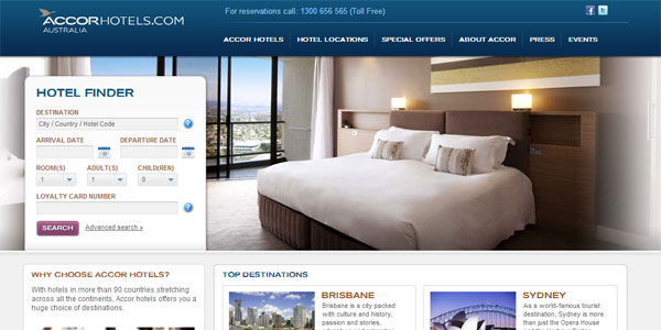 The clean user interface of AccorHotels.com.au's homepage.