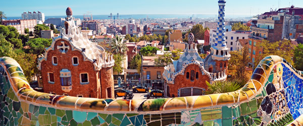 Parc Guell is just one of the wild and innovative designs in Barcelona of architect Antoni Gaudi.