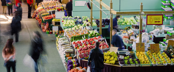 The fresh-produce stalls of Little Italy's Jean-Talon Market. Photo credit Marc Bruxelle.