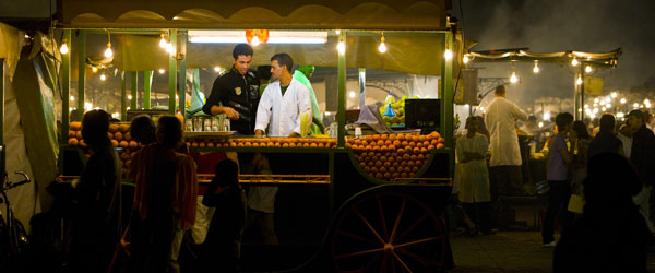Well, there's definitely no shortage of places to eat at Jemaa el-Fnaa after dark!