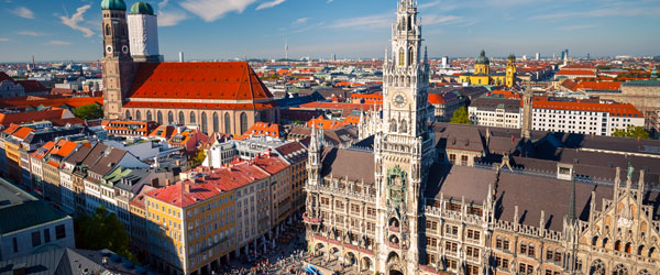 A view over Munich's historic Marienplatz with the New Town Hall and Frauenkirche.