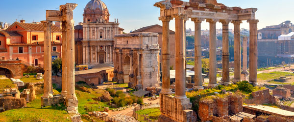 The Roman Forum, though now in ruins, was once the center of the Roman Empire.