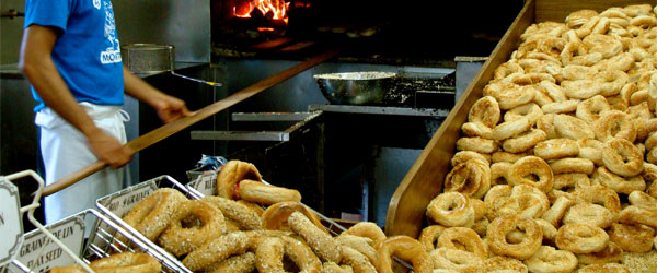 St-Viateur bagels is pretty much a 24-hour bagel factory! Photo credit Julia Manzerova.