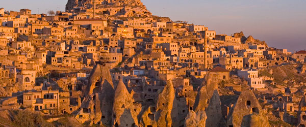 A sunset look at the cave dwellings and monasteries of Cappadocia.