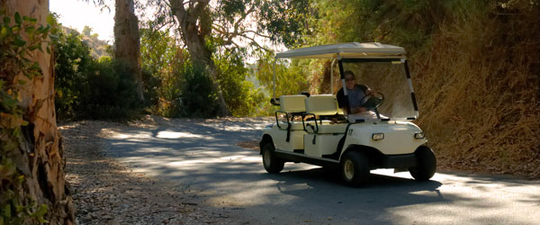 A golf cart cruising down the country lanes of Catalina. Photo credit Rodolfo Arpia.