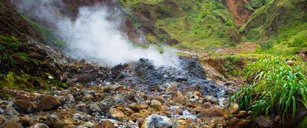 On the hiking trail to the boiling lake of Dominica. Photo credit Goran Hoglund.