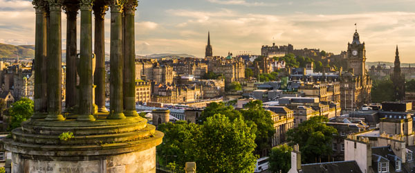 A view of Edinburgh's Old Town and Castle from Calton Hill.