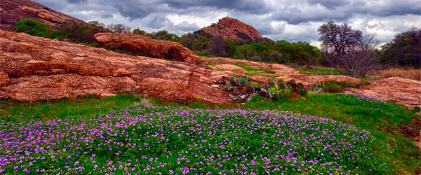 Enchanted Rock with its pink-granite dome in the spring. Photo credit Jim Nix / CC SA.