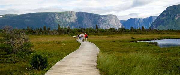 Hikers in the Tablelands of Gros Morne National Park. Photo credit Natalie Lucier.