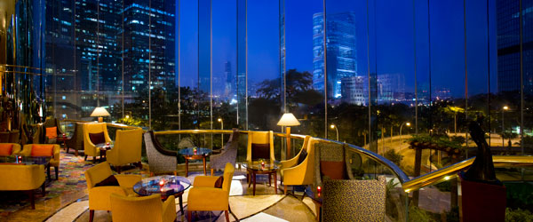 The Lounge at Hong Kong's JW Marriott Hotel with its impressive floor-to-ceiling windows.