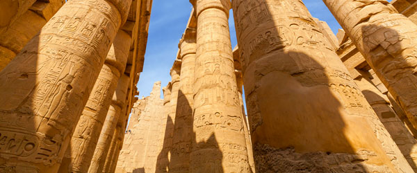 The Great Hypostyle Hall of Karnak with its 80-feet tall columns.