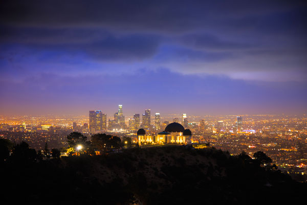 The Griffith Observatory with Downtown Los Angeles behind it.