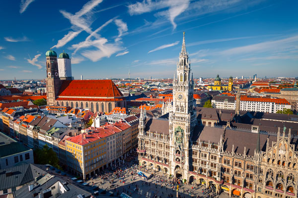 A view over Munich's historic Marienplatz with the New Town Hall and Frauenkirche. Read more at: Modern Art in Berlin and Historic Sights in Munich - Traveler's Digest http://www.travelersdigest.com/3876-modern-art-in-berlin-and-historic-sights-in-munich/#ixzz2WQxUjOwP