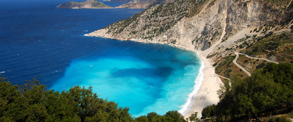 Kefalonia's Myrtos Beach is one of the most picturesque spots in all of Greece. Photo credit Matt Sims.