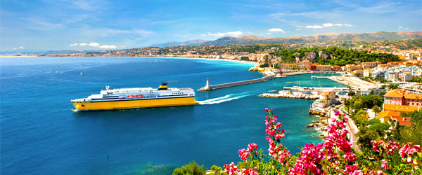 A cruise ship pulling out of the port in Nice on the French Riviera.