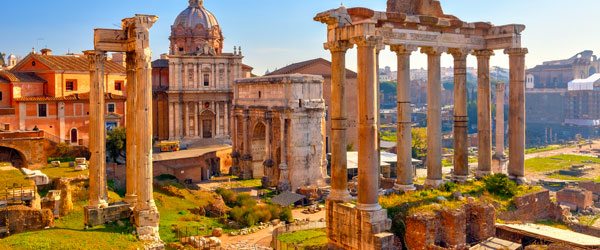 Once the center of an empire, the ruins of the Roman Forum are now the sole domain of tourists.